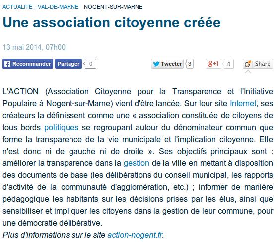 20140513_Le Parisien_Une association citoyenne créée